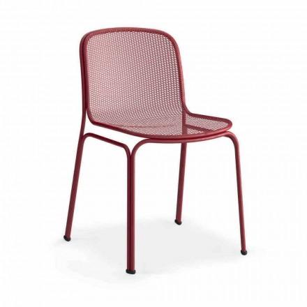 Cadeira empilhável de metal para exterior, fabricada na Itália, 4 peças - Prunella