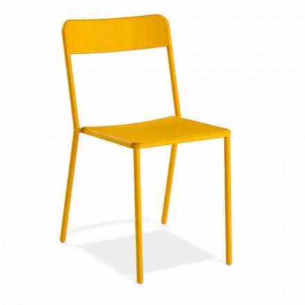 Cadeira empilhável de metal para exterior, fabricada na Itália, 4 peças - Xylia
