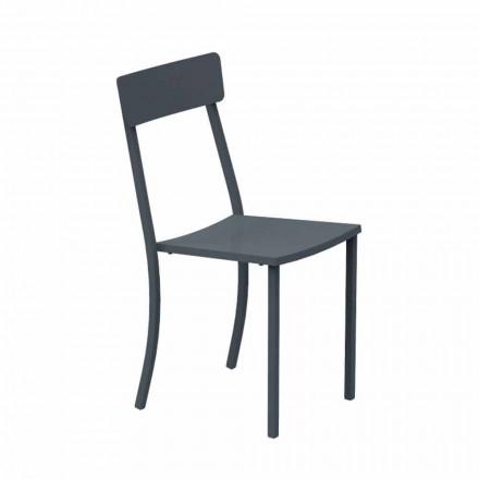 Cadeira empilhável para exterior em metal pintado fabricada na Itália, 4 peças - tule