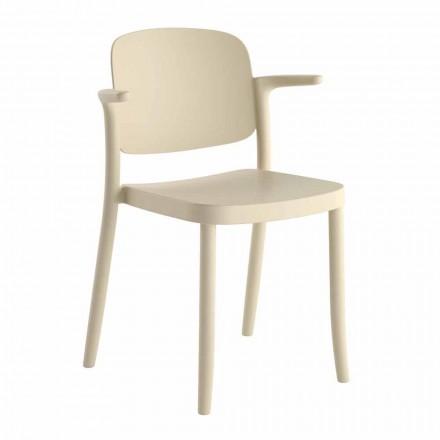 Cadeira empilhável para exterior em polipropileno fabricada na Itália, 4 peças - Bertina