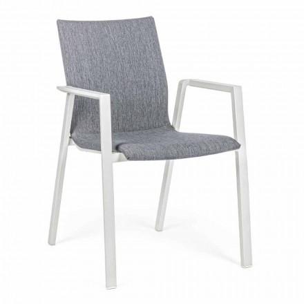 Cadeira empilhável ao ar livre em tecido e alumínio, 4 peças - Kyo