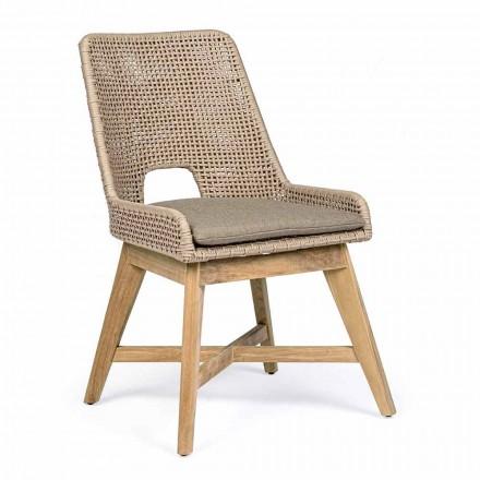 Cadeira Outdoor em Corda e Tecido com Base em Teca Homemotion 2 Peças - Lesya