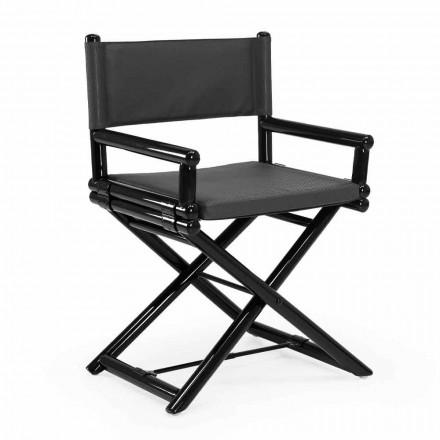 Cadeira Outdoor em Madeira Natural ou Tecido Design Preto e Selável - Suzana