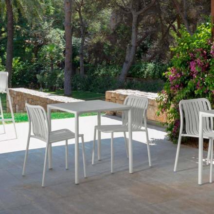 Trocadero moderna cadeira empilhável ao ar livre por Talenti, feita com alumínio