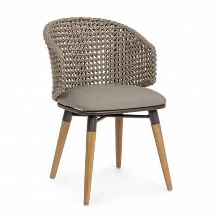 Cadeira Tortora para exteriores em madeira, alumínio e tecido Homemotion - Luana
