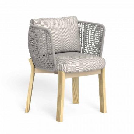 Cadeira de Jardim com Apoio de Braços em Corda, Tecido e Madeira - Argo by Talenti