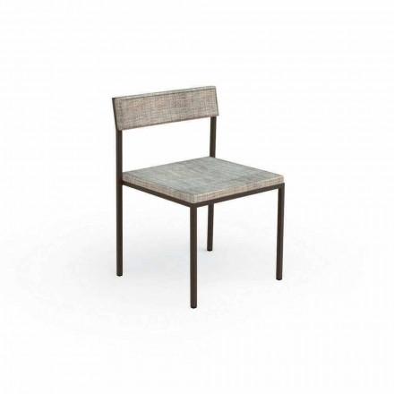 Cadeira estofada Casilda Talenti para jardim com estrutura em aço inoxidável