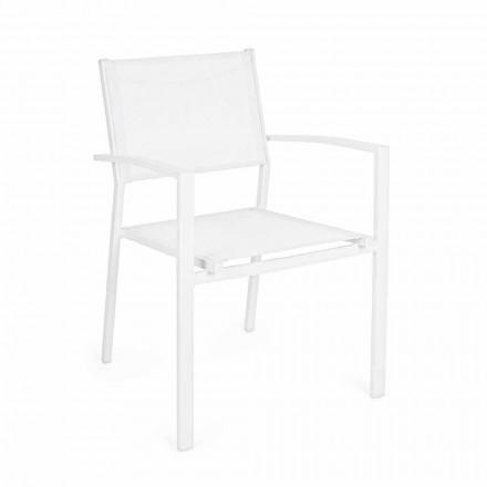 Cadeira de jardim empilhável em alumínio e design moderno em textilene - Franz