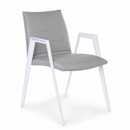 Cadeira de jardim moderna com braços em alumínio branco Homemotion - Liliana