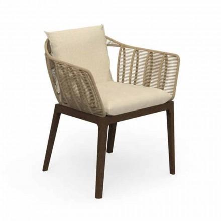 Cadeira de jardim moderna em tecido e madeira de teca - Cruise Teak by Talenti