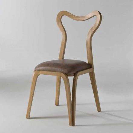 Cadeira de jantar de design moderno Carol em couro e madeira, 41x46 cm