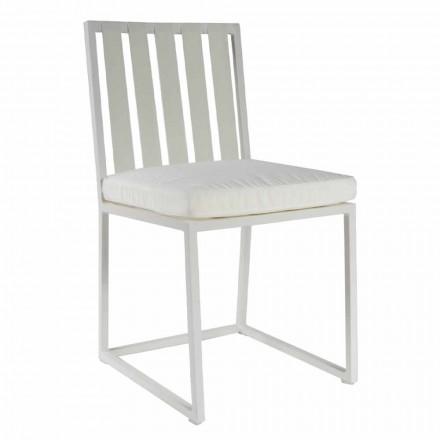 Cadeira de jantar ao ar livre em alumínio e acabamento de corda 3 com design luxuoso - Julie