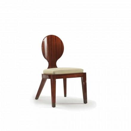Estofada cadeira de jantar Nicole em madeira lisa 51x53 cm, design moderno