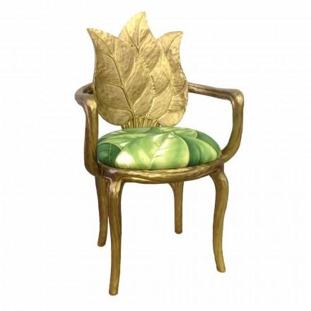 Estofada moderna cadeira de jantar Daniel acabamento em ouro feito na Itália