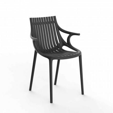 Cadeira de jantar ao ar livre empilhável de polipropileno com 4 peças - Ibiza by Vondom