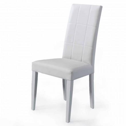 Cadeira estofada para sala de estar com base em faia Made in Italy, 4 peças - Fermali