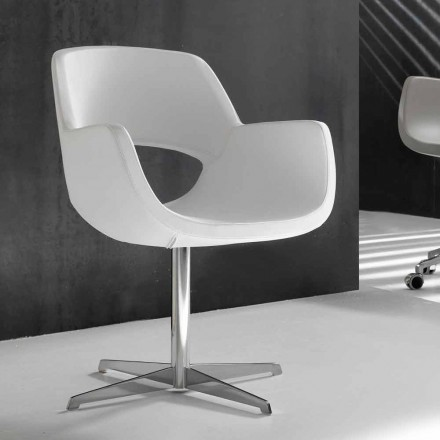 Cadeira de escritório designer de couro branco faux Michelle