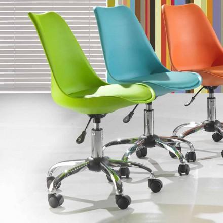 Cadeira de Escritório em Polipropileno Colorido e Metal - Loredana