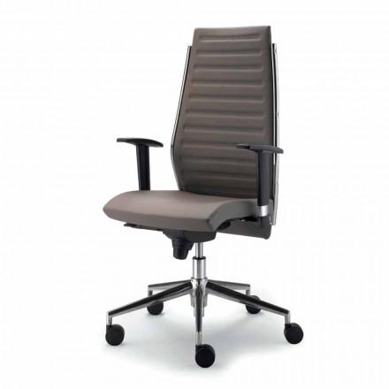 Cadeira de escritório executivo de couro de grão integral Ester, design moderno