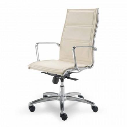 Cadeira de escritório de imitação de pele com monocoque fabricada na Itália Agata