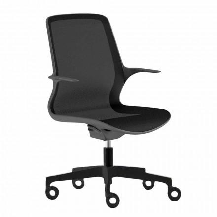 Cadeira de escritório com rodas giratórias em malha preta e nylon preto - Ayumu