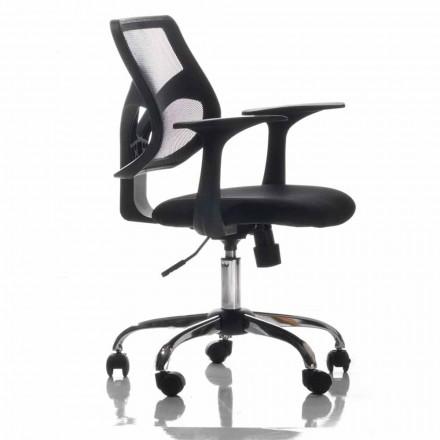 Cadeira de escritório com rodas rotativas, preto e tecido - Giovanna