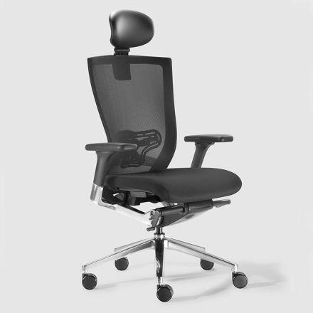 Cadeira de escritório ergonômica com rodas de tecido e couro sintético - Takeshi