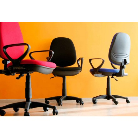 Cadeira de escritório giratória ergonômica com braços em tecido - Concetta