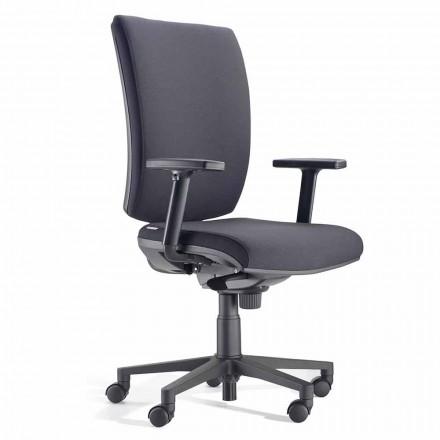Cadeira de escritório giratória ergonômica com braços em tecido preto - Macrino