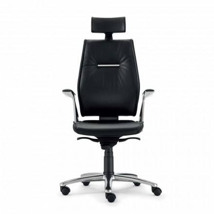Cadeira de escritório executivo de couro de grão integral Ines, design moderno