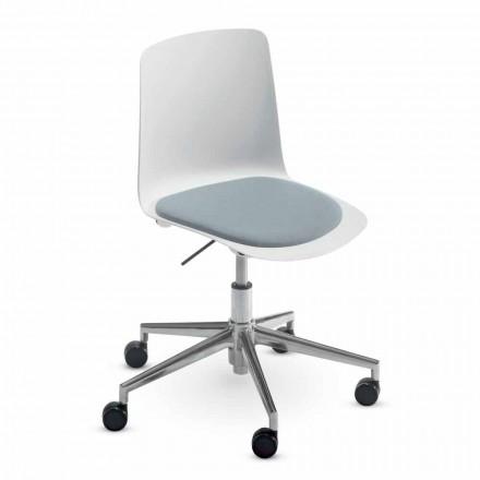 Cadeira de escritório em alumínio e polipropileno fabricada na Itália, 2 peças - Charita
