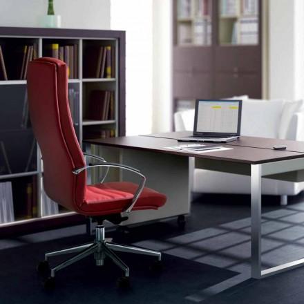 Cadeira de escritório executiva de couro de grão integral Debora, design moderno