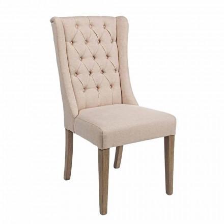 Cadeira Design Clássico em Tecido e Madeira Carvalho 2 Peças Homemotion - Forla