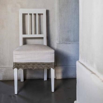 Cadeira de cozinha design em madeira de faia lacada a branco, Shirley, 2 pedaços