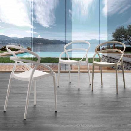 Cadeira Pavia de design moderno em polipropileno, cores diferentes