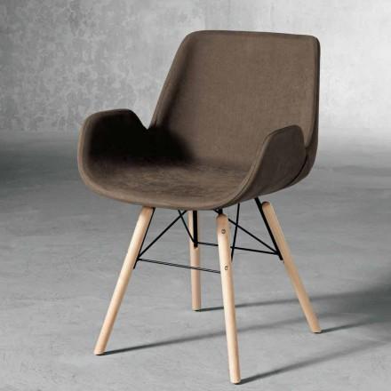 Cadeira de design em madeira e tecido fabricado na Itália, Ranica