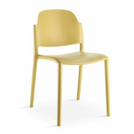 Cadeira empilhável de design moderno em polipropileno colorido 4 peças - Rapunzel