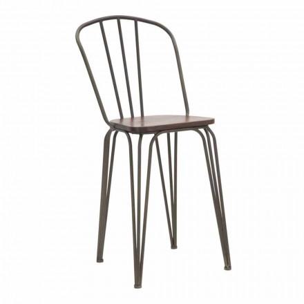 Cadeira Estilo Industrial Design Moderno em Ferro e Madeira, 2 Peças - Erika