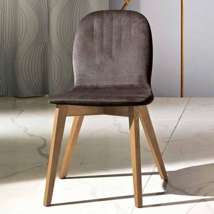 Cadeira de design moderno em veludo e madeira made in Italy, Carola