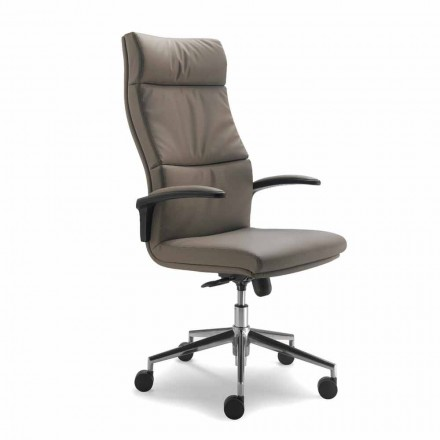 Cadeira de escritório executiva de couro de grão integral Edda, design moderno