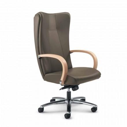 Cadeira de escritório executivo em couro de grão integral Ambra, design moderno