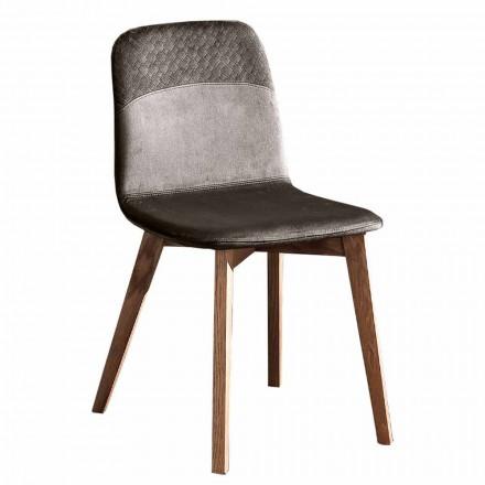 Cadeira Elegante de Design Moderno em Veludo Colorido e Madeira 4 Peças - Bizet