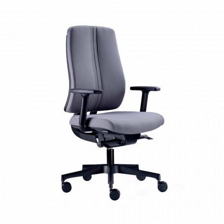 Cadeira giratória moderna ergonômica para escritório em tecido à prova de fogo preto - Menaleo