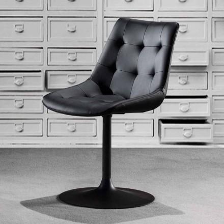 Cadeira giratória, assento de couro ecológico com trabalho tufado - Aura