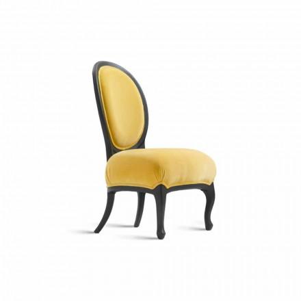 Cadeira estofada Tati em madeira maciça jateada a preto, 60x51cm