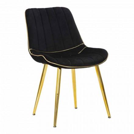 Cadeira acolchoada para design de sala de jantar em madeira e tecido, 2 peças - Kolly