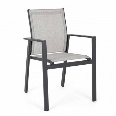 Cadeira empilhável ao ar livre com assento de textilene, 6 peças - Daytona