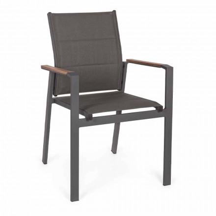 Cadeira empilhável ao ar livre em Textilene e Alumínio Antracite, 6 Peças - Urbana