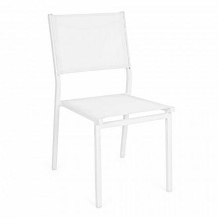 Cadeira empilhável de alumínio e textilene para jardim, Design moderno - Franz