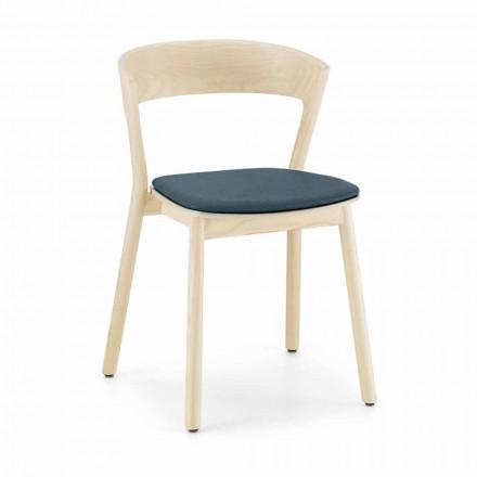 Cadeira empilhável de cinza com assento de tecido Made in Italy, 2 peças - Oslo